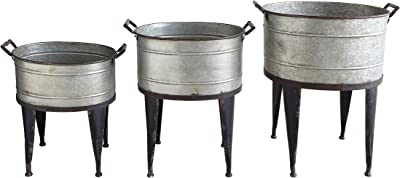 Creative Co-op Silver Metal Buckets/Planters (Set of 3 Sizes)