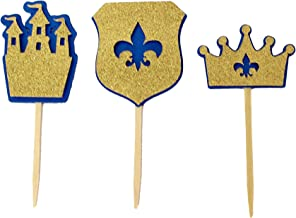 All About Details Royal Blue & Gold Prince Theme Cupcake Toppers, Set of 12