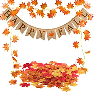 Famoby Happy Fall Pumpkin Burlap Banner and Maple Leaf Garland Confetti for Harvest Time Autumn Theme Party Thanksgiving Decorations