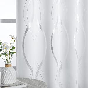 NICETOWN Room Darkening Curtain Panels - Home Fashion Foil Printed Wave Lines Thermal Insulated Room Darkening Curtains for Bedroom/Nursery (1 Pair, 52 inches W x 95 inches, Greyish White)