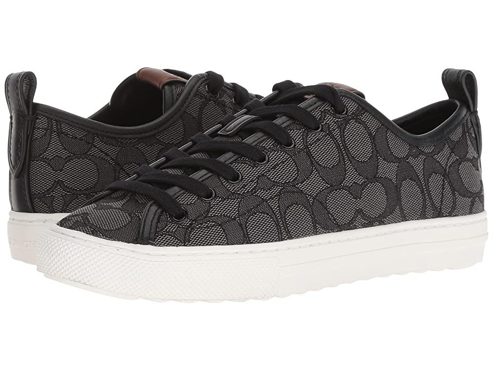 COACH C121 Low Top Sneaker (Black Smoke/Black Signature C) Women