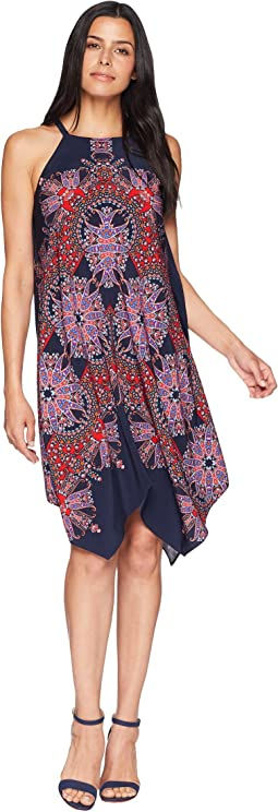 Starburst Paisley Novelty Printed Fit and Flare with Hanky Hem
