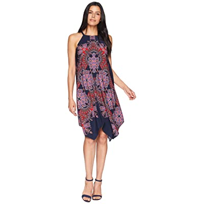 Maggy London Starburst Paisley Novelty Printed Fit and Flare with Hanky Hem (Navy/Red) Women