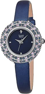 Burgi Swarovski Colored Crystal Watch - 4 Genuine Diamond Markers - Slim Leather Strap Elegant Women's Wristwatch - Mothers Day Gift - BUR240