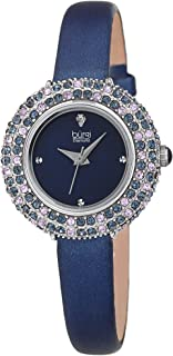 Burgi Swarovski Colored Crystal Watch - 4 Genuine Diamond Markers - Slim Leather Strap Elegant Women's Wristwatch - Mothers Day Gift - BUR240