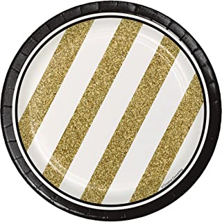 Creative Converting 317547 8-Count Sturdy Style 7-Inch Paper Dessert Plates, Black and Gold, 7