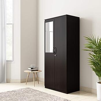 Amazon Brand - Solimo Vega Engineered Wood 2 Door Wardrobe with Half Mirror (Espresso Finish)