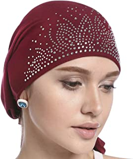 Crystal Chemo Hat Woman's Stretchy Beanie Bandana Turban Cap Skull Cap Head Wrap Headscarf for Cancer,Alopecia Hair Loss