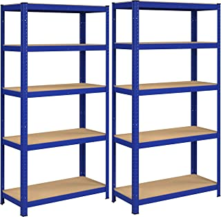 SONGMICS Magazijnrek, set van 2, rek voor zware lasten, kelderrek, 180 x 90 x 40 cm, tot 875 kg belastbaar, 5 verstelbare ...