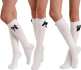 Molton Marley - Calzini alti al ginocchio, con fiocco, in cotone, per bambina e donna, Made in Europe