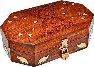 Great Birthday Gift Ideas Handmade Decorative Wooden Jewelry Box With Free Lock & Key Jewelry Organizer Keepsake Box Treasure Chest Trinket Holder Lock Box Watch Box 8 x 5 Inches Anniversary Gifts