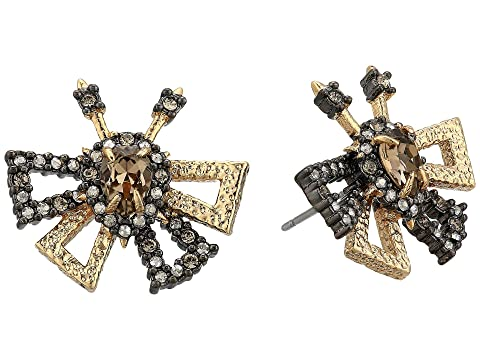 Alexis Bittar Crystal Encrusted Brutalist Butterfly Stud Earrings