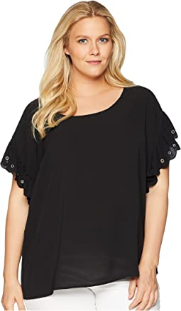 Plus Size Scallop Edge Short Sleeve Top