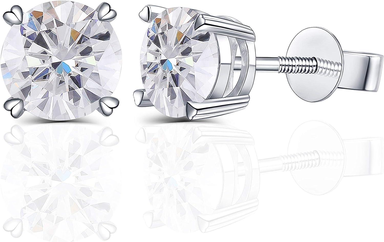 DovEggs Solid 14K White Gold Screw Back 2ct 6.5mm G-H-I color Heart Arrows Cut Moissanite Stud Earring for Women