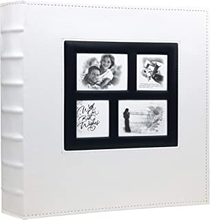 RECUTMS Photo Album 4x6 Holds 500 Photos Black Pages Large Capacity Leather Cover Wedding Family Baby Photo Albums Book Horizontal and Vertical Photos (White)