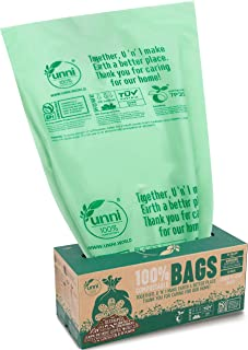 UNNI ASTM D6400 100% Compostable Trash Bags, 30-33 Gallon,124 Liter, 20 Count, Extra Thick 1.1 Mils, Lawn and Leaf Yard Wa...