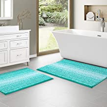 Chenille Bath Rugs Set of 2 Piece for Bathroom (20X32 & 17X24), Non Slip Ultra Soft and Absorbent Shaggy Bath Mat, Dry Fas...