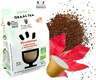 GRAALTEA - Infusion Bien-être - Aide Circulation Sanguine - Vigne Rouge BIO en Capsule - 100% d'Origine Naturelle - Made i...