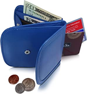 TAXI WALLET Blue Small Folding LEATHER Minimalist Card Coin Front Pocket Wallet for Men & Women