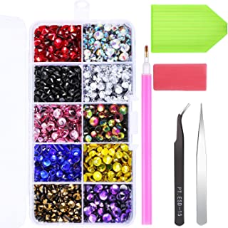 Jovitec Hotfix Flatback Rhinestones Iron on Glue Glass Flat Back Gemstones AB Crystals 5 Sizes 2-6.5 MM (SS6-SS30) in Storage Box with Tweezers and Picking Rhinestones Tool (5000 Pieces)