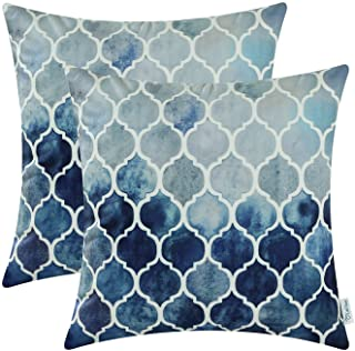 CaliTime Pack of 2 Cozy Throw Pillow Cases Covers for Couch Bed Sofa Farmhouse Manual Hand Painted Colorful Geometric Trellis Chain Print 18 X 18 Inches Main Grey Navy Blue