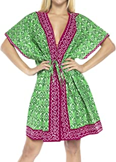 LA LEELA Womens One Size Loose Beach Kimono Cover Ups Cardigan Tops Solid Plain