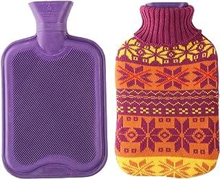 2 Liter Premium Classic Rubber Hot Water Bottle w/Cute Knit Cover (2 Liter, Purple/Snowflake)