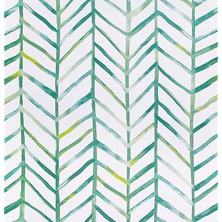 Timeet Papel Pintado Pared Moderno con Diseño de Espiga, Color Verde/Blanco, Vinilo, Autoadhesivo, Decorativo, Papel Adhesivo para Muebles,Cajones,Manualidades 45 cm x 5 m