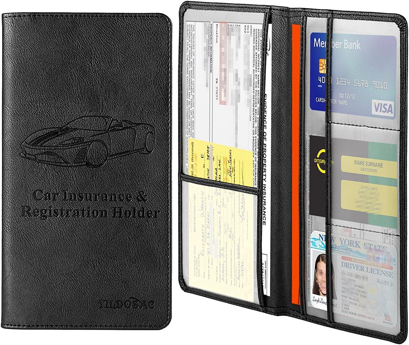 Car Registration and Insurance Card Holder,Tildosac Premium PU Leather  Vehicle Glove Box Paperwork Wallet Case Document Organizer for Driver's  License ...