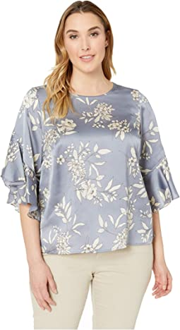 Plus Size Bell Sleeve Refined Etched Bouquet Blouse