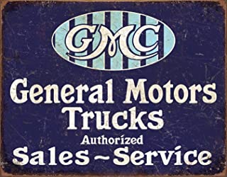 Desperate Enterprises GMC Trucks Authorized Sales ~ Service Tin Sign, 16