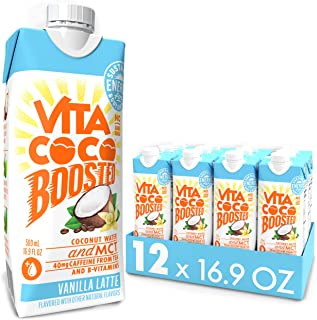 Vita Coco Boosted Coconut Water with MCT Oil, Vanilla Latte I Tea Based Caffeine I Coffee Drink Alternative...
