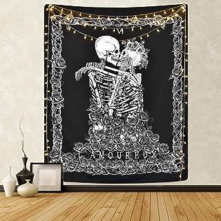 Skull Tapestry Skeleton Lovers Tapestry Death Tarot Card Tapestry Black and White Tapestries for Room