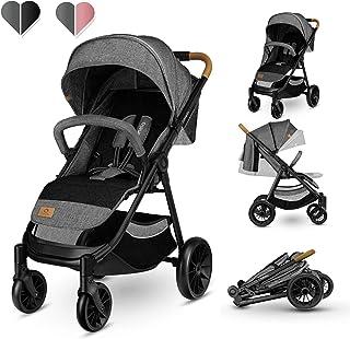 Lionelo Nät barnvagn buggy upp till 22 kg buggy med liggläge fotstöd inställning XXL vått med fönster EVA hjul myggnät hop...