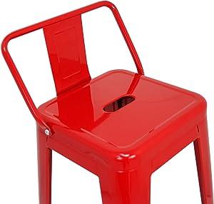 La sedia spagnola tólix Pack di sgabelli con Schienale, Acciaio Inox, Rosso, 43x 43x 76cm