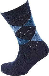 Viyella Made in England Mens Navy Blue Argyle Wool Socks