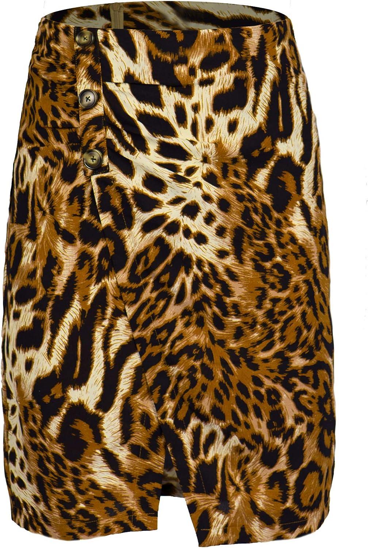 Denali-Fashion High-Waist Leopard Print Back Zipper Pleated Satin Finish Skirt