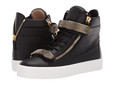 Giuseppe Zanotti May London Rhinestone High Top Sneaker (Black/Gold) Men