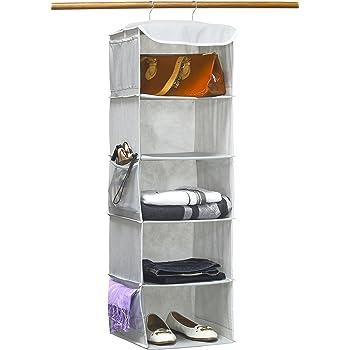 Simple Houseware 5 Shelves Hanging Closet Organizer, Gray