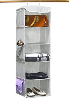 Simple Houseware 5 Shelves Hanging Closet Organizer, Gray