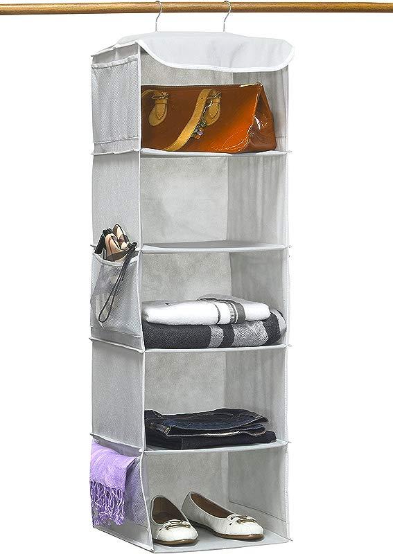 Simple Houseware 5 Shelves Hanging Closet Organizer Gray