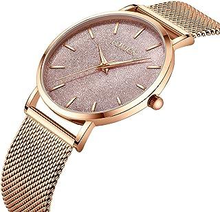 Women's Rose Gold Watch Analog Quartz Stainless Steel Mesh Band Casual Fashion Ladies Wrist Watches