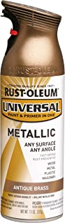 Rust-Oleum 260728 Universal All Surface Spray Paint, 11 oz, Metallic Antique Brass