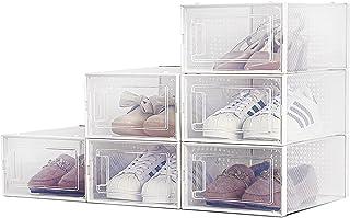 Boîte à Chaussures, Lot de 6 Boîte de Rangement Transparente pour Chaussures, Boîte à Chaussures en Plastique Antipoussièr...