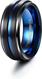 فلوريكو 8 مم خاتم من التنجستين خاتم إصبع الإبهام الأسود للرجال خاتم الخطوبة خاتم غير لامع أزرق حجم 6-14