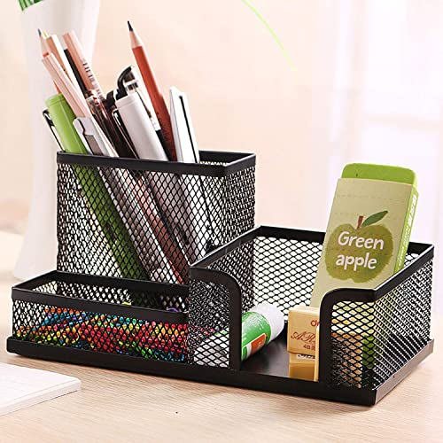 SKYFUN (LABEL) 3 Sections Metal Lacquer Pen Stand for Official Use ; Black