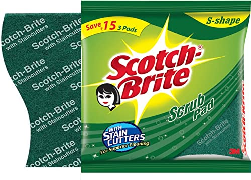 Scotch-Brite Scrub Sponge Large (Pack of 2) and Scrub Pad Large (Pack of 3) (H18-4877)