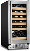 Sipmore Wine Cooler and 15 Inch Wine Refrigerator 30 Multi-Size Bottle Single Zone Built-in or Freestanding Stainless Steel and Double-Layer Tempered Glass Door with Slide Way Shelves