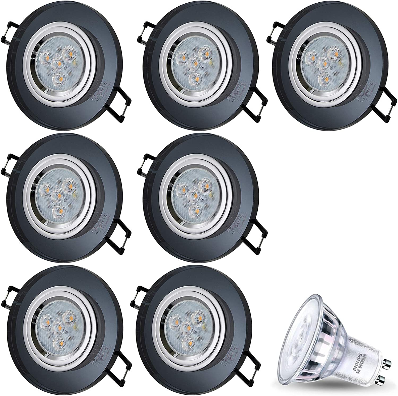 LED Einbaustrahler aus Glas Spiegel Schwarz Dimmbar CRISTAL Rund Inkl. 7X 5W LED Warmweiss 230V IP20 LED Deckenstrahler Einbauleuchte Deckeneinbaustrahler Einbauspot Deckeneinbauleuchte