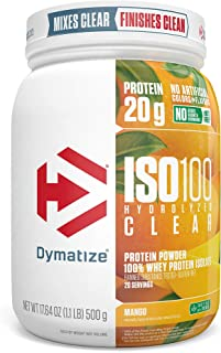 Dymatize ISO100 Hydrolyzed Clear Protein Powder, 100% Whey Protein Isolate Powder, 20g of Protein & 4g BCAAs, Gluten Free, Keto Friendly, Easy Mixing, Light & Refreshing, Mango, 1.1 lbs